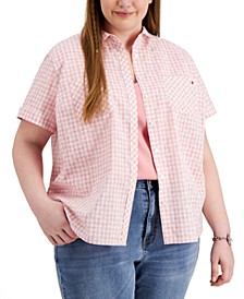 Plus Size Gingham Camp Shirt