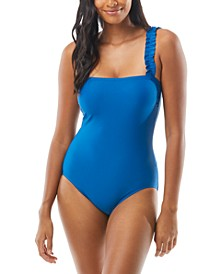 Mini-Ruffle Square-Neck One-Piece Swimsuit