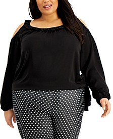 Plus Size Cold-Shoulder Side-Tie Top
