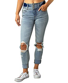 Juniors' Triple-Button Ripped Cuffed Jeans