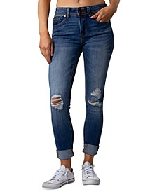 Juniors' Ripped Cuffed Jeans