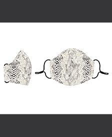 Cream Black Snakeskin Cotton Face Mask