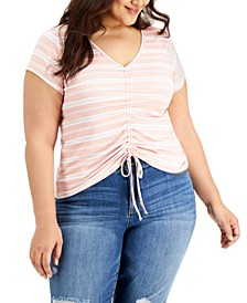 Trendy Plus Size V-Neck Drawstring T-Shirt