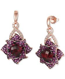 Multi-Gemstone (7-1/20 ct. t.w.) & Nude Diamond (3/8 ct. t.w.) Flower Drop Earrings in 14k Rose Gold