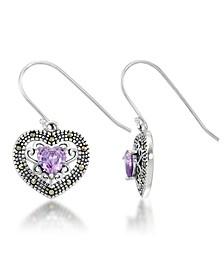 Amethyst Filigree Heart Dangle Earrings