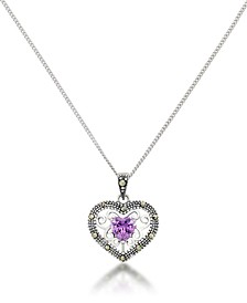 Amethyst Filigree Heart Pendant and a Curb Chain