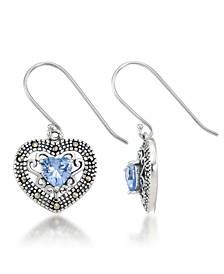 Blue Topaz Filigree Heart Dangle Earrings