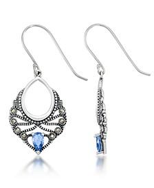 Blue Topaz Filigree Teardrop Dangle Earrings