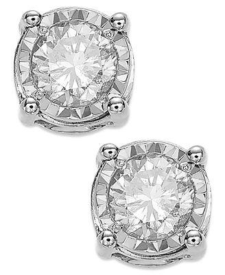 TruMiracle Diamond Stud Earrings 3 4 ct t w in 14k White Gold