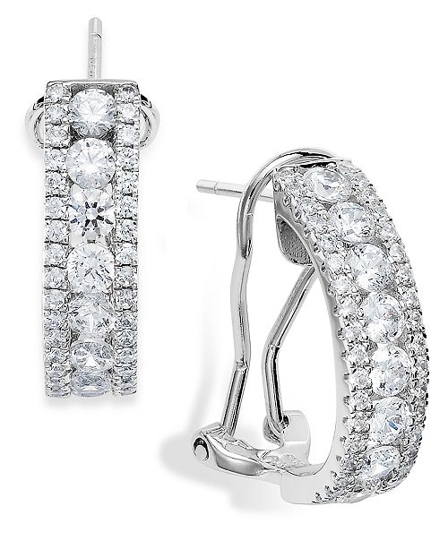 Arabella Sterling Silver Swarovski Zirconia Three-Row Hoop Earrings (4 ct. t.w.)