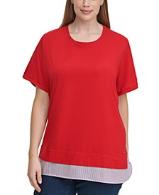 Plus Size Woven-Hem T-Shirt