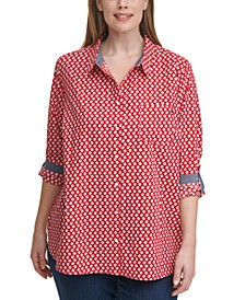 Plus Size Cotton Daisy Tunic Shirt