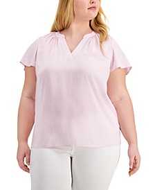 Plus Size Flutter-Sleeve Split-Neck Top, Created for Macy's