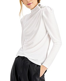 INC Button-Trim Puff-Sleeve Top, Created for Macy's