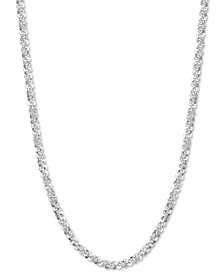 """Crystal Link 16"""" Chain Necklace in Sterling Silver, Created for Macy's"""
