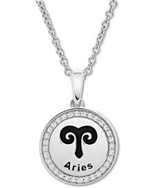 Diamond Aries Zodiac Pendant Necklace (1/10 ct. t.w.) in Sterling Silver