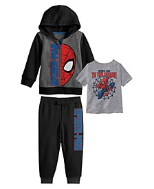 Toddler Boys Spiderman Hoodie with T-shirt and Fleece Pant Set, 3 Piece