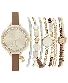 Women's Cognac Strap Watch 32mm Gift Set