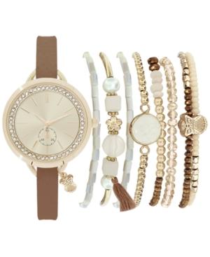 Women's Cognac Strap Watch 32mm Gift Set