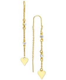 Gold-Tone Heart Crystal Chain Threader Earrings