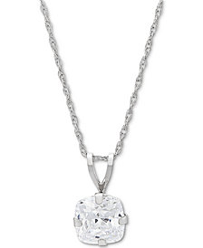 "Cubic Zirconia Solitaire 18"" Pendant Necklace in 14k White Gold"