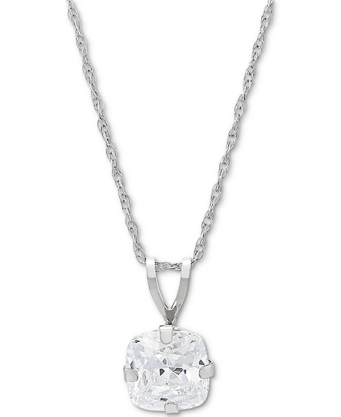 "Macy's - Cubic Zirconia Solitaire 18"" Pendant Necklace in 14k White Gold"