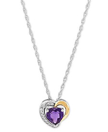 """Amethyst (3/4 ct. t.w.) & Lab-Created White Sapphire (1/20 ct. t.w.) 18"""" Pendant Necklace in Sterling Silver & 10k Gold (Also in Garnet)"""