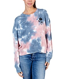 Juniors' Rose Graphic Tie-Dyed Sweatshirt