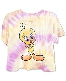 Juniors' Tweety Tie-Dyed T-Shirt