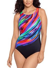 Glowing Strong Printed High-Neck One-Piece Swimsuit
