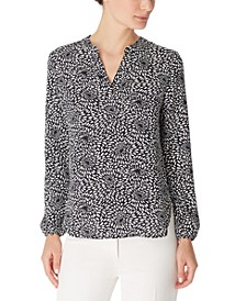 Ann Klein Printed Split-Neck Blouse