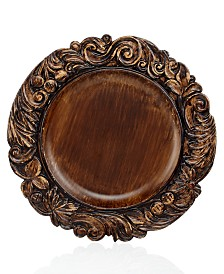 Jay Imports Brickbrown Wood Textured Charger Plate