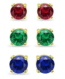Created Green Quartz, Created Ruby and Simulated Blue Sapphire Stud Earring Set, 3 Piece