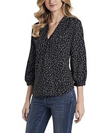 Women's Quarter Sleeves Speckled Confetti V-Neck Blouse