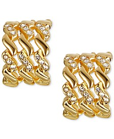 "Gold-Tone Small Pavé Triple-Row C-Hoop Earrings, 0.55"", Created for Macy's"