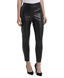 Women's Petite Croc Pleather Pull On Pant