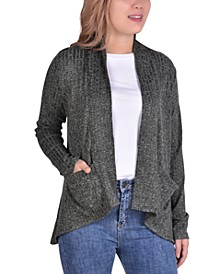 Petite Ribbed-Knit Open-Front Cardigan