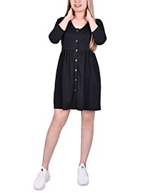 Petite Button-Front Fit & Flare Dress