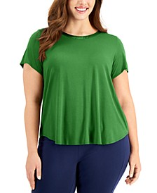 Plus Size Satin-Trim Top, Created for Macy's