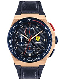 Men's Chronograph Aspire Blue Leather & Silicone Strap Watch 44mm