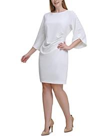 Plus Size Beaded-Sleeve Sheath Dress