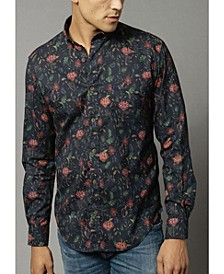 Men's Long Sleeve Twill Shirt with Chambray Trim