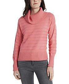 Women's Textured Stripe Cowl Neck Sweater