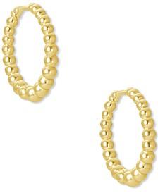 """14k Gold-Plated Extra-Small Bead-Look Huggie Hoop Earrings, 0.43"""""""