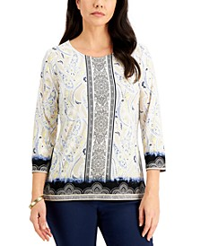 Mixed-Print Jacquard Top, Created for Macy's
