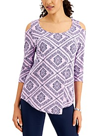 Printed 3/4-Sleeve Cold-Shoulder Top, Created for Macy's