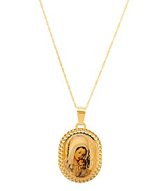 """Polished Mary and Baby Jesus Medallion on 18"""" Chain in 14K Yellow Gold"""