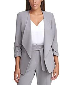 3/4-Sleeve Open-Front Jacket