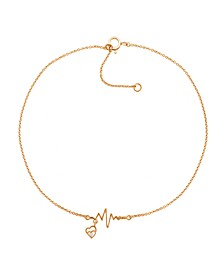 "Diamond Accent Heartbeat Anklet In 14K Rose Gold-Plated  Sterling Silver, 9"" + 1"" extender"