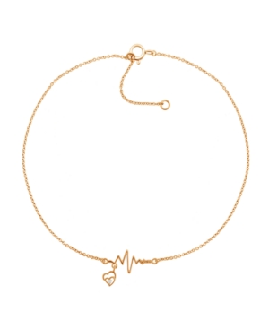 Diamond Accent Heartbeat Anklet In 14K Rose Gold-Plated Sterling Silver